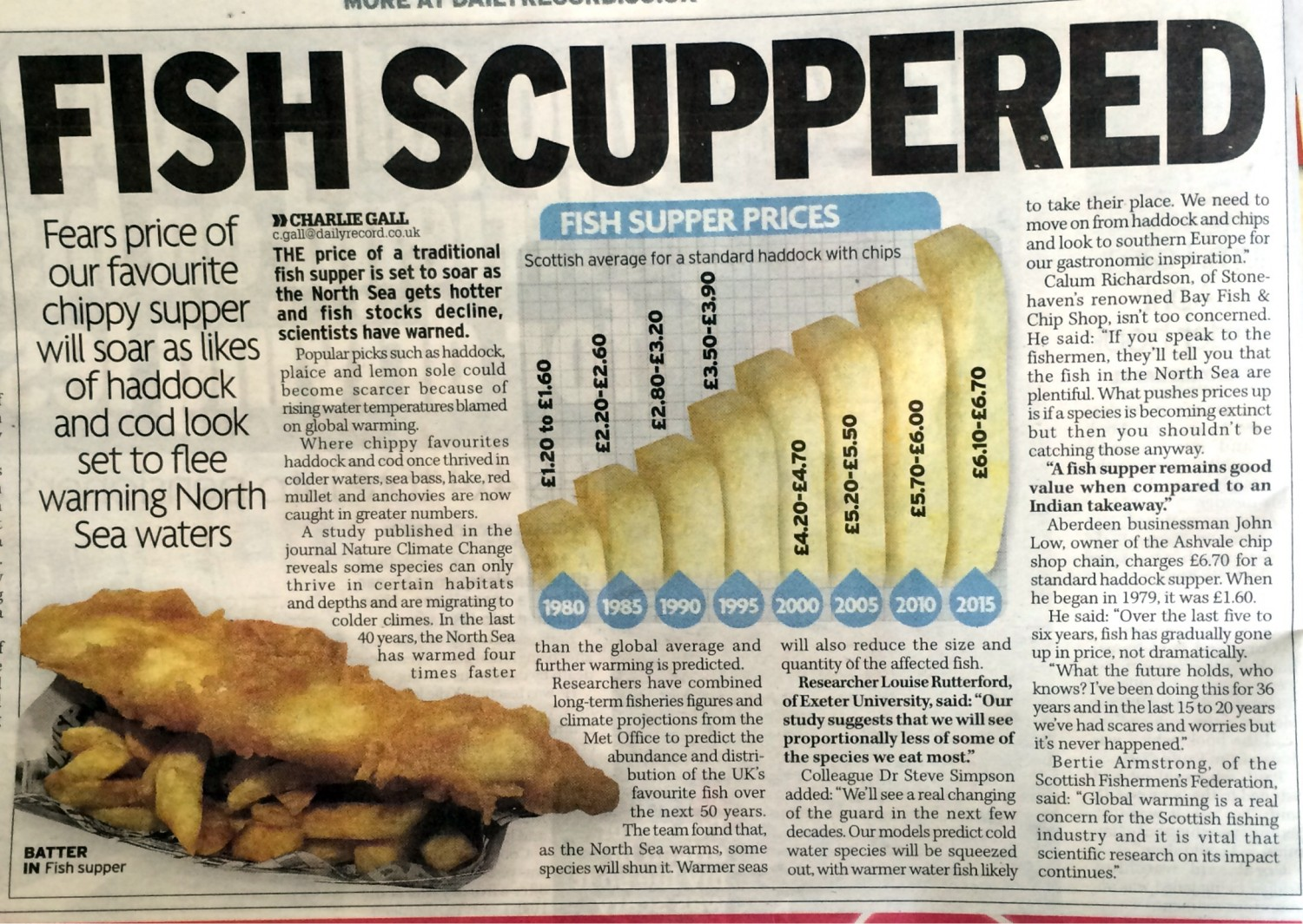 Read Chef Director Calum's opinion, as reported in the Daily Record, on the fears of fish supper prices soaring if fish stocks decline.