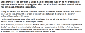 The Bay Fish & Chips supports local Antarctic explorer