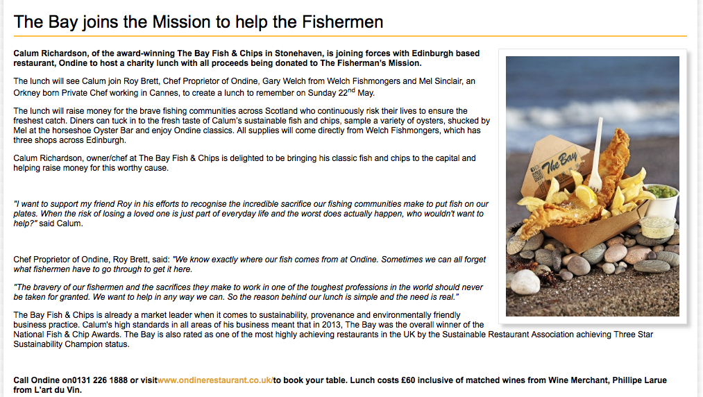 The Bay joins the Mission to help the Fishermen