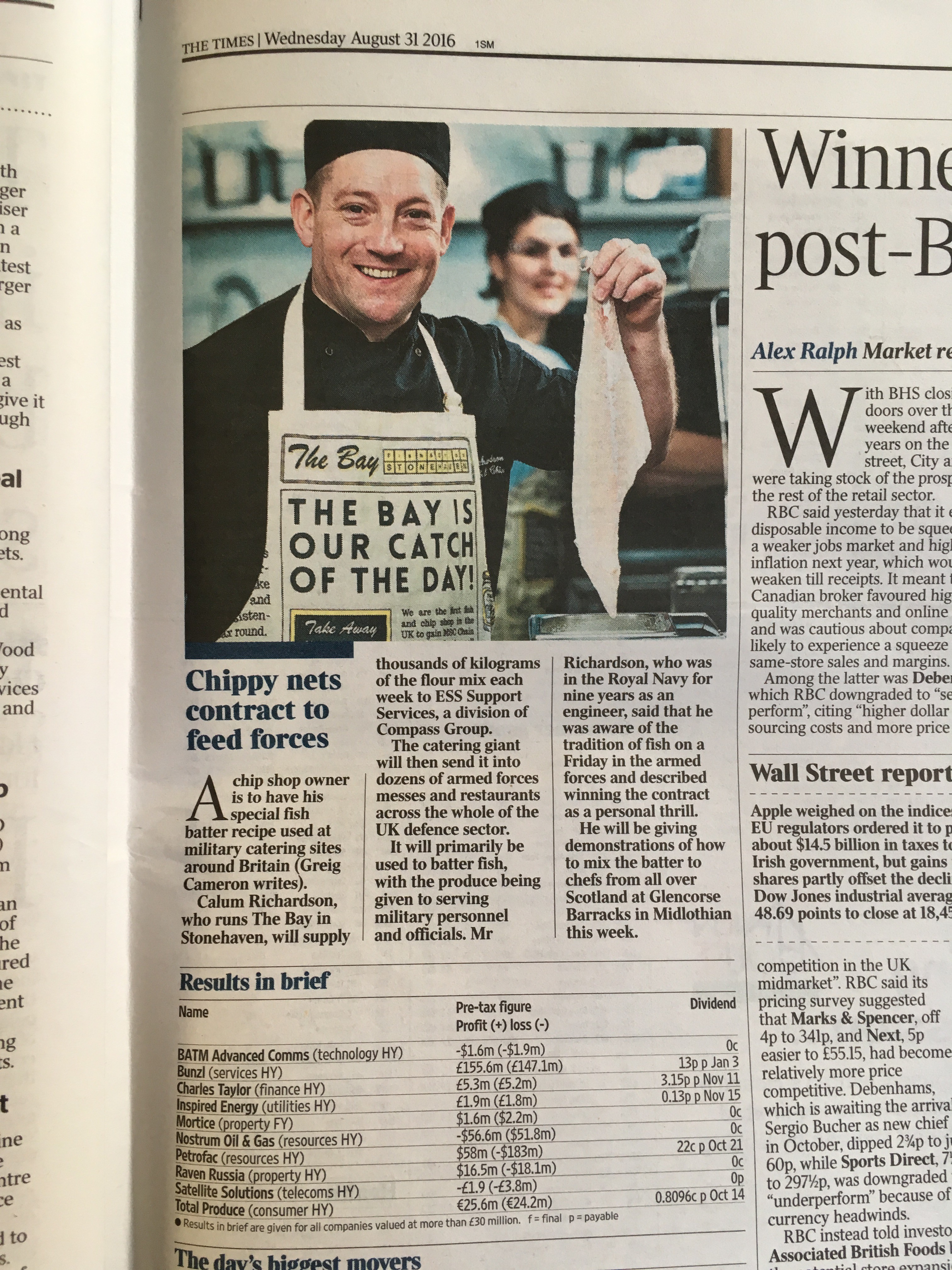 The Times - Chippy nets contract to feed forces