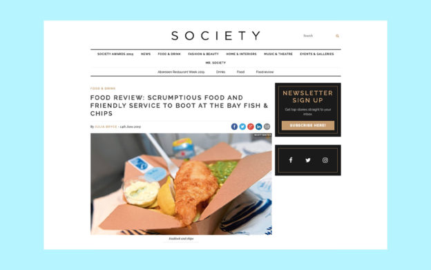 positive review for the bay fish and chips on society aberdeen